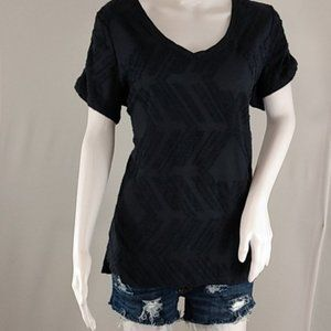 Peace & Pearls Blue Textured Women's Top
